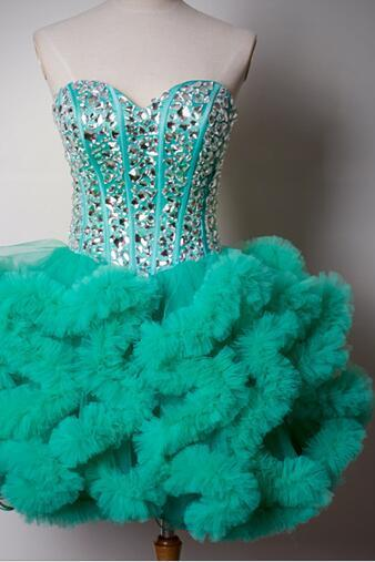 Homecoming Dresses,Sweetheart Homecoming Dress,2016,Green Prom Dress,Short Tulle Homecoming Dress,Sexy Short Prom Dress with Puffy Ruffles