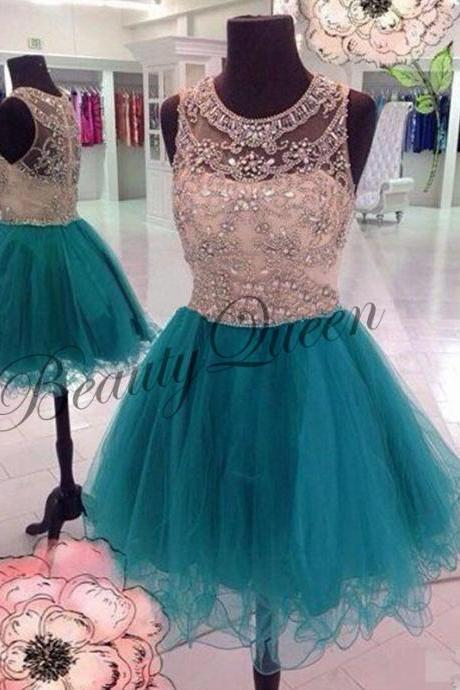 Homecoming Dress,Turquoise Homecoming Dress,2016,Tulle Prom Dress,Short Homecoming Dress,Sexy Sheer Short Prom Dress with Beadings,Graduation Dress