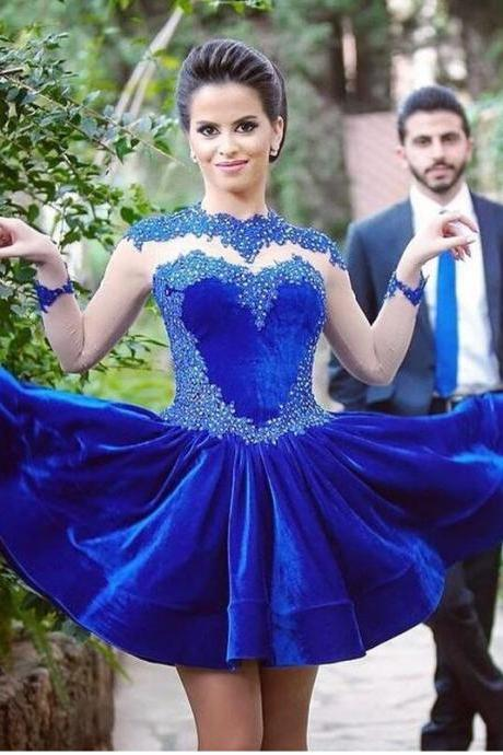 Homecoming Dresses,Long Lace Sleeves Homecoming Dress 2016,Sexy Royal Blue Velet Prom Dress,Short Homecoming Dress Appliquéd,Sexy Short Prom Dress,Graduation Dress