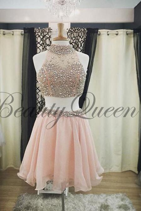Homecoming Dresses, Pink Homecoming Dress, 2016, Two Pieces Prom Dresses, High Neck Prom Dress, Short Homecoming Dress, Sexy Short Prom Dress Beaded, Short Prom Dresses, Graduation Dress