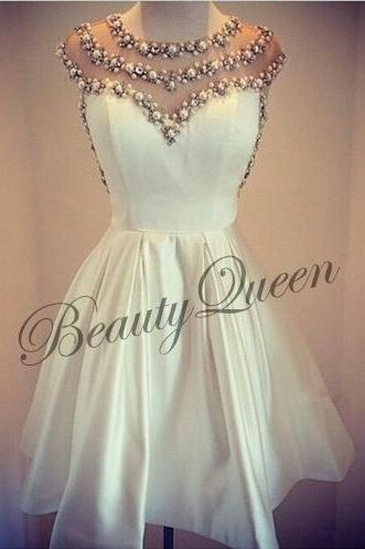 Homecoming Dresses,Ivory Satin Homecoming Dress,2016,Ivory Prom Dress,Short Homecoming Dress,Sexy Short Prom Dress with Pearls,Graduation Dress