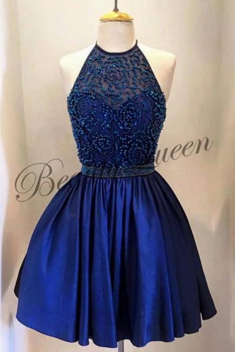 Homecoming Dresses,Halter Neckline Homecoming Dress,Dark Royal Blue Homecoming Dress,2016,Dark Royal Blue Prom Dress, Short Elastic Satin Homecoming Dress,Sexy Short Prom Dress Beaded,Graduation Dress