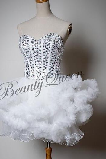 Homecoming Dresses,Sweetheart White Homecoming Dress,2016,White Prom Dress,Tulle Short Homecoming Dress,Sexy Short Prom Dress with Puffy Ruffles,Graduation Dress