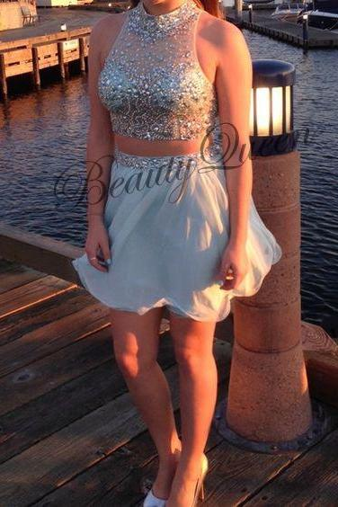 Homecoming Dresses, Silver Homecoming Dress, Two Pieces Prom Dresses, High Neck Prom Dress, Short Homecoming Dress, Sexy Short Prom Dress Beaded, Graduation Dress, Short Prom Dresses, Custom Made