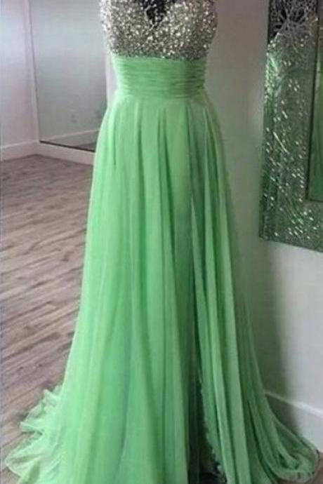 Prom Dresses,Scoop Prom Gowns,Long Chiffon Prom Dresses,Mint Prom Dress,Sexy Prom Dresses with Beadings,2017