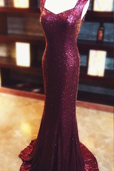 Evening Dresses,Burgundy Prom Dresses ,Bling Bling Prom Dress,Mermaid Prom Dresses,Mermaid Evening Gowns,Mermaid Evening Dress,Burgundy, 2017