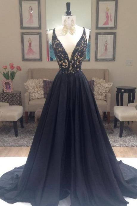Prom Dresses,Deep V Neckline Prom Gowns,Long Prom Dresses,Black Prom Dress,Lace Prom Dress,Taffeta Puffy Prom Dresses,2017