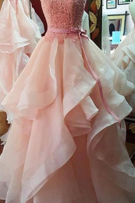 Prom Dresses,O Neck Prom Gowns,Long Prom Dresses,Coral Pink Prom Dress,Lace Prom Dress,Organza RufflesProm Dresses,2017