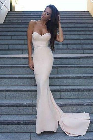 Evening Dresses,Ivory Prom Dresses ,Simple Prom Dress,Mermaid Prom Dresses,Mermaid Evening Gowns,Mermaid Evening Dress, 2017