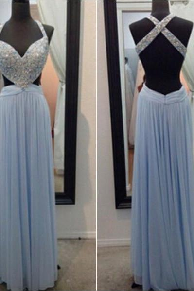 Prom Dresses,V Neck Prom Gowns,Long Chiffon Prom Dresses,Baby Blue Prom Dress,Prom Dresses with Beadings,Open Back Prom Dress, 2017