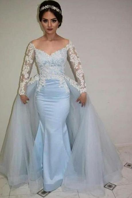 Prom Dresses,Mermaid Prom Gowns,Long Sleeve Prom Dresses,Baby Blue Prom Dress,Prom Dresses with Detachable Train, Mermaid Prom Dress Full Sleeve, Lace Prom Dress,2017