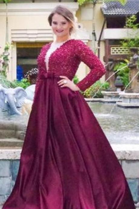 Prom Dresses,Satin Prom Gowns,Long Sleeve Prom Dresses,Burgundy Prom Dress,Prom Dresses with Pearls Beaded, Prom Dress Full Sleeve, Lace Prom Dress,2017