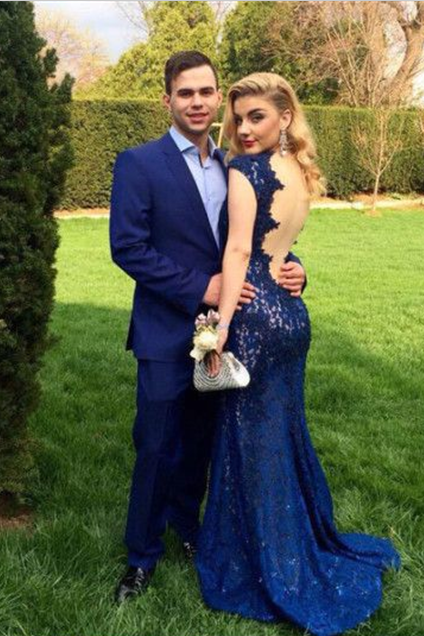 Evening Dresses,Royal Blue Lace Prom Dresses ,Lace Prom Dress,Mermaid Prom Dresses,Mermaid Evening Gowns Lace,Mermaid Prom Dress,2017