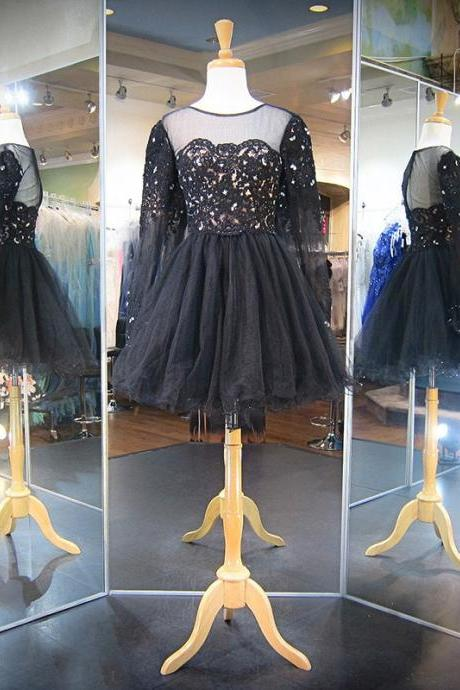 Prom Dresses,Black Lace Prom Dresses,Short Prom Dresses, Lace Prom Dress,Short Homecoming Dress,Prom Dress with Full Sleeves ,Prom Gowns, Black Lace Tulle Prom Dress,2017 Prom Dress,Custom Made