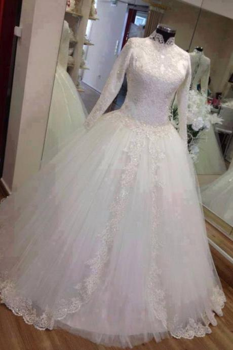 Bridal Dresses, 2017 White Wedding Dresses, Arabric Wedding Dress,Ball Gown Wedding Dresses, Lace Wedding Dresses, High Neck Wedding Dress, Bridal Gowns, Full Sleeves Muslim Wedding Gowns,Vintage Tulle Wedding Gowns, Bridal Dresses, Wedding Party Dresses, Custom Made