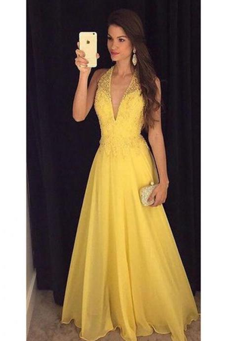 Prom Dresses, Yellow Prom Dresses, Chiffon Prom Dress with Beadings, Long Prom Dresses, Long Evening Gowns, Elegant Evening Dress, Pageant Dresses, 2017 Prom Dresses, Custom Made