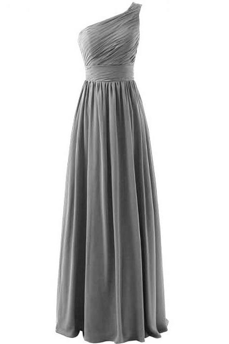 Bridesmaid Dress, Gray Bridesmaids Dress, Long Bridesmaid Dress, 2019 Bridesmaid Dress, One Shoulder Bridesmaid Dress,Wedding Party Dresses, Evening Dress,Prom Dress, Chiffon Bridesmaid Dress, Pageant Dress, Custom Made