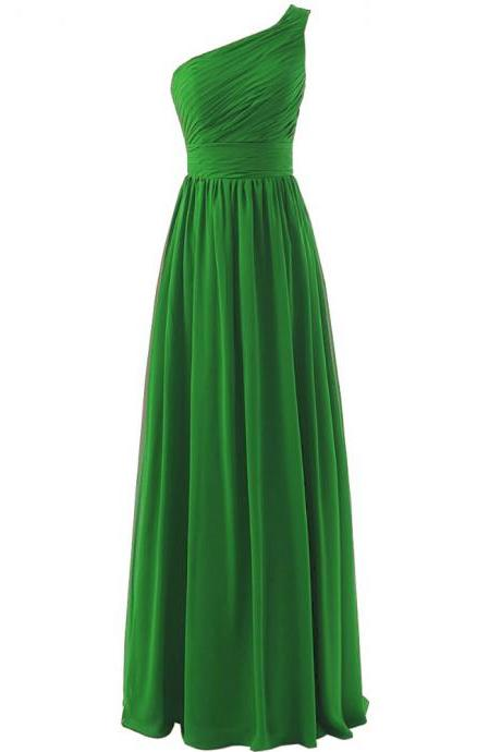 Bridesmaid Dress, Green Bridesmaids Dress, Long Bridesmaid Dress, 2020 Bridesmaid Dress, One Shoulder Bridesmaid Dress,Wedding Party Dresses, Evening Dress,Prom Dress, Chiffon Bridesmaid Dress, Pageant Dress, Custom Made