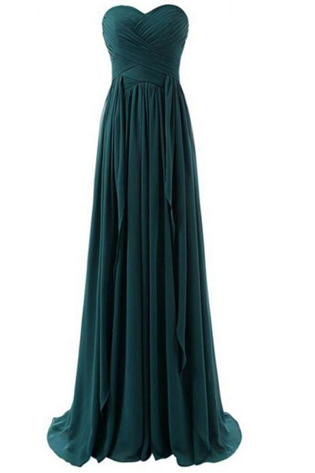 Bridesmaid Dress, Teal Green Bridesmaids Dress, Long Bridesmaid Dresses, 2017 Bridesmaid Dress, Strapless Bridesmaid Dress,Wedding Party Dresses, Prom Dress, Plus Size Bridesmaid Dress, Sweetheart Prom Dress, Custom Made
