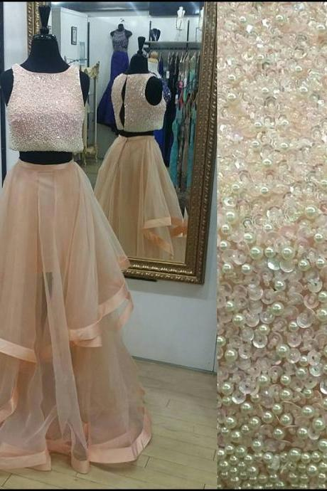 Prom Dresses, Two Pieces Prom Dresses, Prom Dresses Sleeveless, Long Prom Dresses, Rose Gold Prom Dress, Prom Dresses with Pearls Beaded, Tulle Prom Dress Ruffles, 2017 Prom Dresses, Evening Dresses, Party Dresses, Custom Made