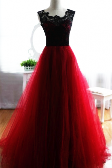Prom Dresses, Burgundy Prom Dress, Long Tulle Prom Dresses, Black Lace Burgundy Tulle Prom Dress, Prom Dresses with Lace, Lace Prom Dress, 2017 Prom Dresses, Custom Made