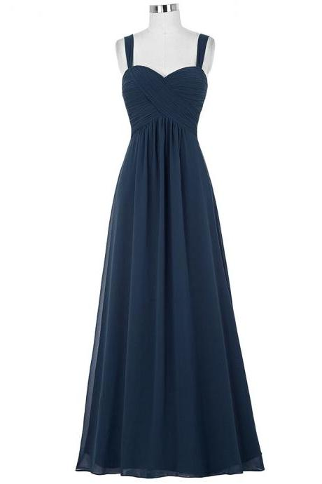 Bridesmaid Dresses, Navy Blue Chiffon Bridesmaid Dress, Maid of Honor Dresses, Spaghetti Straps Bridesmaid Dresses, 2019 Bridesmaid Dress, Wedding Guest Dresses, Wedding Party Dresses, Prom Dresses, Plus Size Bridesmaid Dress, Sweetheart Prom Dresses, Bridesmaid Dress Long, Custom Made