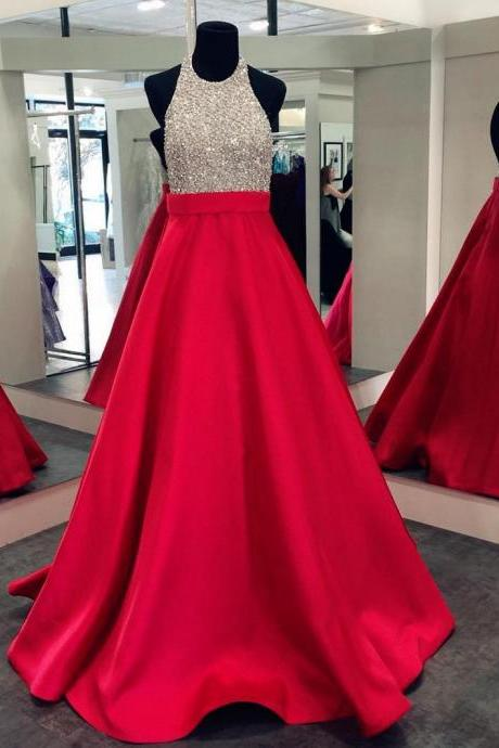 Prom Dresses, Halter Prom Gowns, Long Satin Prom Dresses, Red Prom Dress, Pageant Dress, Prom Dresses with Beadings, Backless Prom Dress, Evening Dress, 2017 Prom Dresses, Custom Made