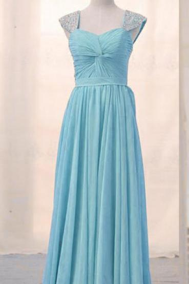 Prom Dresses, Prom Dresses with Beadings, Chiffon Prom Dresses, Sweetheart Prom Dresses, Cap Sleeves Prom Dresses, Long Prom Dresses, 2017 Prom Dresses, Sky Blue Prom Dresses, Prom Dress, Party Dress, Prom Dresses 2017, Wedding Party Dresses, Custom Made