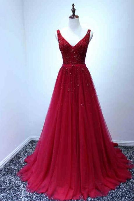 Prom Dresses, Prom Dresses with Beadings, Tulle Prom Dresses, V-Neck Prom Dresses, Red Prom Dresses, Long Prom Dresses, 2017 Prom Dresses, Gorgeous Prom Dresses, Prom Dress, Party Dress, Evening Dresses, Prom Dresses 2017, Wedding Party Dresses, Custom Made