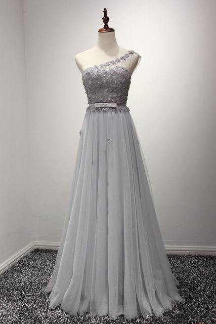 Prom Dresses, Prom Dresses with Flowers, Tulle Prom Dresses, One Shoulder Prom Dresses, Gray Prom Dresses, Long Prom Dresses, 2017 Prom Dresses, Delicate Prom Dresses, Prom Dress, Party Dresses, Evening Gowns, Prom Dress 2017, Wedding Party Dresses, Custom Made