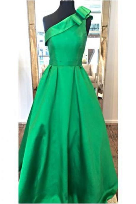 Prom Dresses, Prom Dresses with Bow, Satin Prom Dresses, One Shoulder Prom Dresses, Green Prom Dresses, Long Prom Dresses, 2017 Prom Dresses, Party Dresses, Evening Gowns, Prom Dress 2017, Wedding Party Dresses, Custom Made