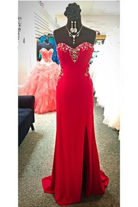Prom Dresses, Prom Dresses with Beadings, Sheath Prom Dresses, Strapless Prom Dresses, Red Prom Dresses, Long Prom Dresses, 2017 Prom Dresses, Sexy Prom Dresses with Split Side, Evening Dresses, Prom Dresses 2017, Sweetheart Prom Dresses, Custom Made