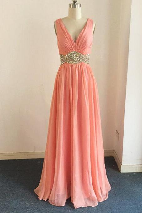 Prom Dresses, Prom Dresses Beadings, Chiffon Ruffled Prom Dresses, Coral Prom Dresses, V Neck Prom Dresses, Long Prom Dresses, 2017 Prom Dresses, Sexy Prom Dresses Backless, Evening Gowns, Prom Dresses 2017, Real Samples Prom Dresses, Custom Made