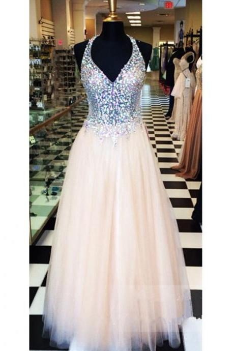 Prom Dresses, Prom Dresses with Beadings, Sexy Sheer Prom Dresses, Tulle Prom Dresses, V Neckline Prom Dresses, Coral Prom Dresses, Long Prom Dresses, 2017 Prom Dresses, Party Dress, Evening Dresses, Formal Dresses, Custom Made