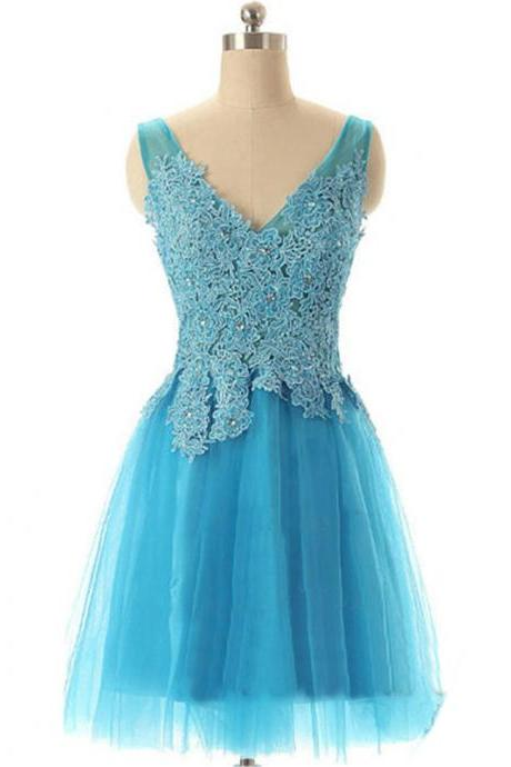 Prom Dresses, Blue Lace Tulle Prom Dresses, Lace Prom Dresses, Short Prom Dresses, V-Neck Prom Dresses, Real Samples Prom Dresses, 2017 Prom Dresses, Short Homecoming Dresses, Mini Party Dress, Prom Dresses 2017, Custom Made