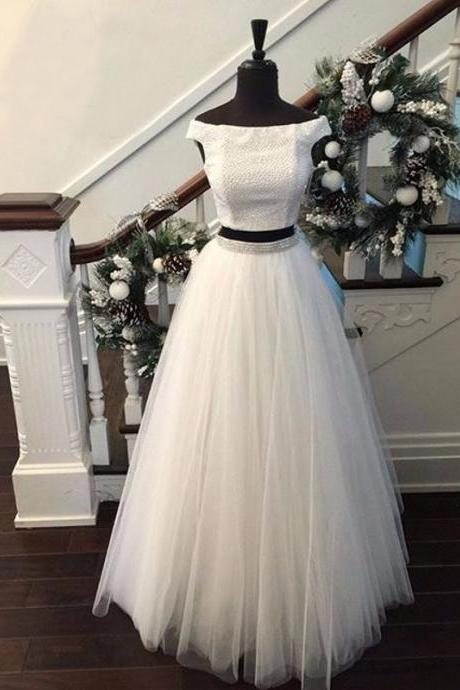 Two Pieces Prom Dresses, Prom Dresses 2017, Off The Shoulder Prom Dresses, Long Prom Dresses, White Prom Dresses, 2 Pieces Prom Dresses, Formal Dresses, Evening Dresses 2017, Long Evening Gowns, Party Dress, Custom Made