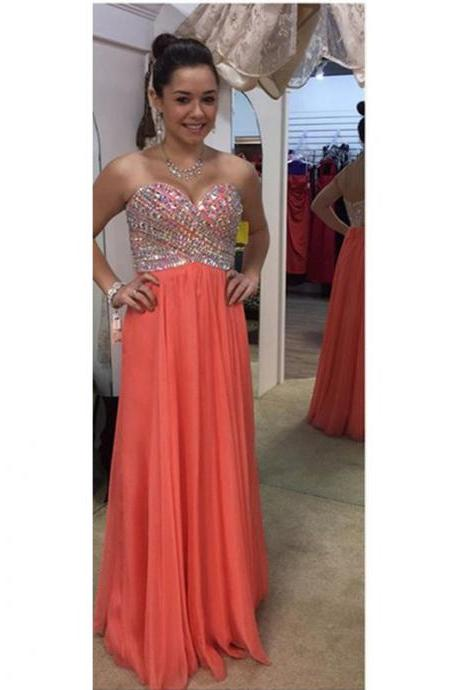 Prom Dresses, Prom Dresses with Beadings, Sweetheart Prom Dresses, Strapless Prom Dresses, Orange Chiffon Prom Dresses, Long Prom Dresses, 2017 Prom Dresses, Sexy Prom Dresses Backless, Evening Dresses, Prom Dresses 2017, Real Samples Prom Dresses, Custom Made