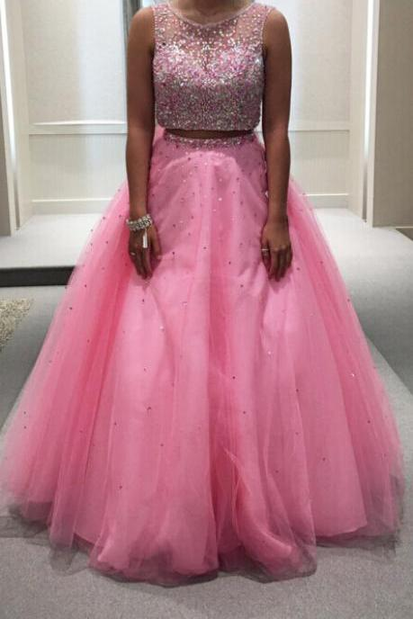 Two Pieces Prom Dresses, Prom Dresses 2017, Bateau Neckline Prom Dresses, Long Prom Dresses, Pink Tulle Prom Dresses, 2 Pieces Prom Dresses, Formal Dresses, Evening Dresses 2017, Long Evening Gowns, Party Dress, Custom Made