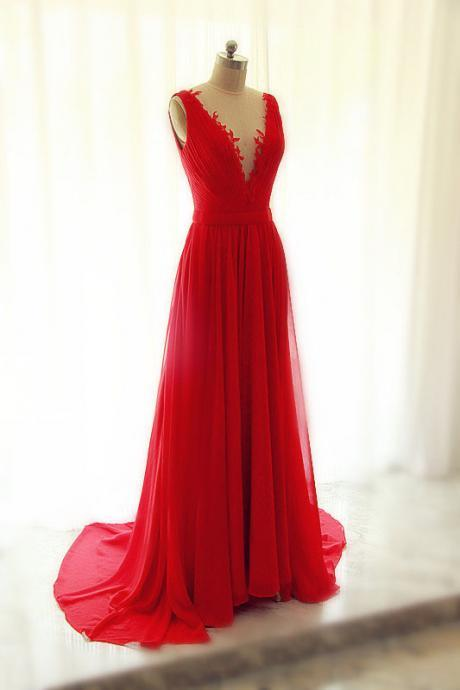 Prom Dresses, Prom Dresses Embroidered Lace, V Neck Prom Dresses, Red Chiffon Prom Dresses, Lace Prom Dresses, Long Prom Dresses, 2017 Prom Dresses, Sexy Prom Dresses Backless, Evening Dresses, Prom Dresses 2017, Real Samples Formal Dresses, Custom Made