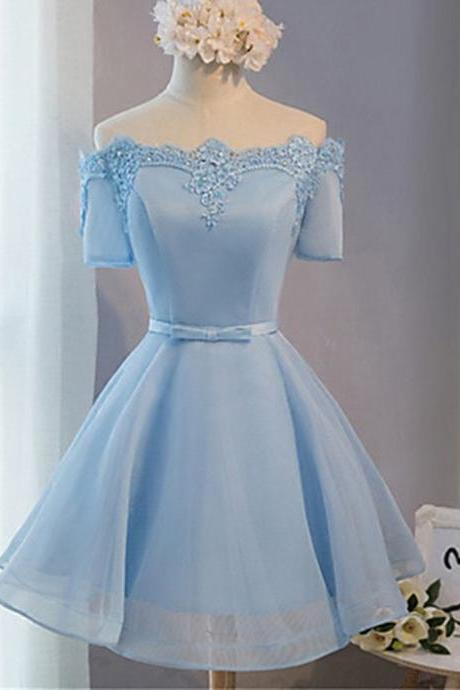 Short Prom Dresses, Baby Blue Prom Dresses, Lace Prom Dresses, Short Sleeves Prom Dresses, Short Prom Dress, Real Samples Prom Dresses, Off The Shoulder Prom Dresses Appliquéd, Short Homecoming Dresses, Graduation Dresses, Mini Party Dress, Prom Dresses 2017, Custom Made
