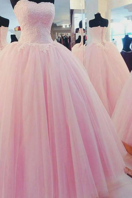 Quinceanera Dresses, Lace Quinceanera Dresses, Long Prom Dresses Ball Gown, Pink Tulle Prom Dresses, Formal Sweet 16 Dress, Sweet 15 Dresses, Puffy Tulle Prom Dress Sequined, Pageant Dress, Strapless Prom Dresses, Custom Made