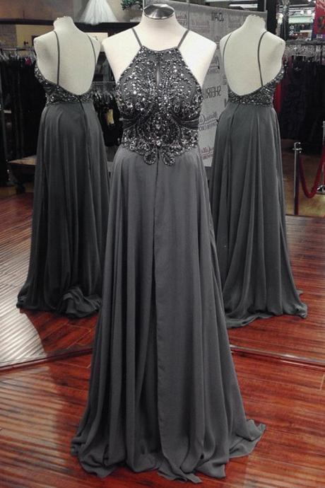 Prom Dresses, Prom Dresses Beadings, Chiffon Beaded Prom Dresses, Gray Prom Dresses, Halter Prom Dresses, Long Prom Dresses, 2017 Prom Dresses, Sexy Prom Dresses Backless, Evening Gowns, Prom Dresses 2017, Real Samples Prom Dress, Custom Made