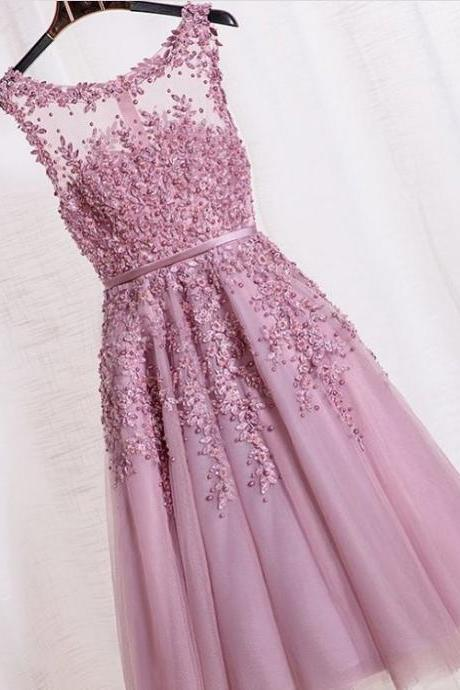 Homecoming Dresses, Graduation Dresses, Mini Party Dress, 2017 Homecoming Dresses Embroidered Lace, Short Prom Dresses, Durty Pink Prom Dresses, Tulle Prom Dresses Appliqués, Lace Prom Dresses, Short Prom Dress, Real Samples Prom Dresses, 2017 Prom Dresses, Custom Made
