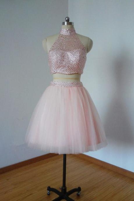 Prom Dresses, Pink Prom Dresses, Short Tulle Prom Dresses, Two Pieces Prom Dresses, Sexy Prom Dresses, 2 Pieces Prom Dresses, 2017 Prom Dresses, Short Homecoming Dresses, Graduation Dresses, Mini Party Dress, Prom Dresses with Beadings, Custom Made