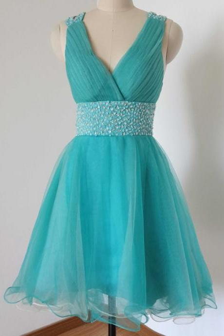 Homecoming Dresses, Graduation Dresses, Mini Party Dress, 2017 Homecoming Dresses with Silver Beaded, Short Prom Dresses, Turquoise Prom Dresses, Organza Homecoming Prom Dresses, Prom Dresses, V Neckline Prom Dress, Real Samples Prom Dresses, 2017 Prom Dresses, Custom Made