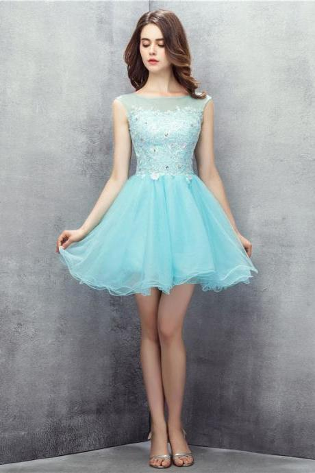 Homecoming Dresses, Graduation Dresses, Mini Party Dress, 2017, Lace Homecoming Dresses, Short Prom Dresses, Sky Blue Prom Dresses, Lace Prom Dresses Backless, Prom Dresses, Short Prom Dress, Tulle Prom Dresses, 2017 Prom Dresses, Custom Made