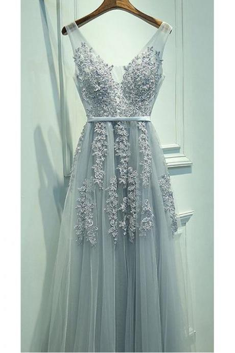 9b733696e4f0 Prom Dresses, Gray Prom Dresses, V Neck Prom Dress, A line Prom Dresses