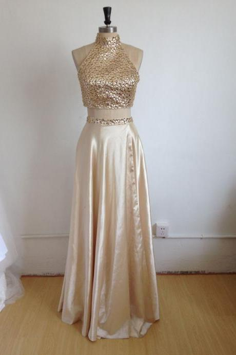 Prom Dresses, Two Pieces Prom Dresses, 2 Piece Prom Dresses, 2017 Prom Dresses, Gold Evening Dresses, Beaded Prom Gowns, Prom Dresses with Halter, Pageant Dress, Prom Dress with Gold Beadings