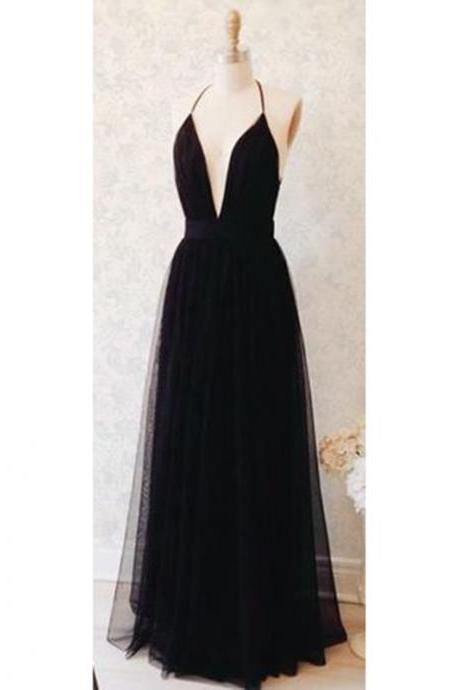 Prom Dresses, Black Prom Dresses, Halter Neckline Prom Dress, A line Prom Dresses, Long Prom Dresses, Tulle Evening Gowns, Evening Dresses, Tulle Prom Dresses, Wedding Party Dresses, 2017 Prom Dresses, Custom Made