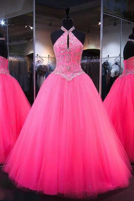 Quinceanera Dresses, Long Prom Dresses Ball Gown, Hot Pink Prom Dresses, Formal Sweet 16 Dress, Sweet 15 Dresses, Puffy Tulle Prom Dress Beaded, Pageant Dress, Quinceanera Dresses Embroidered